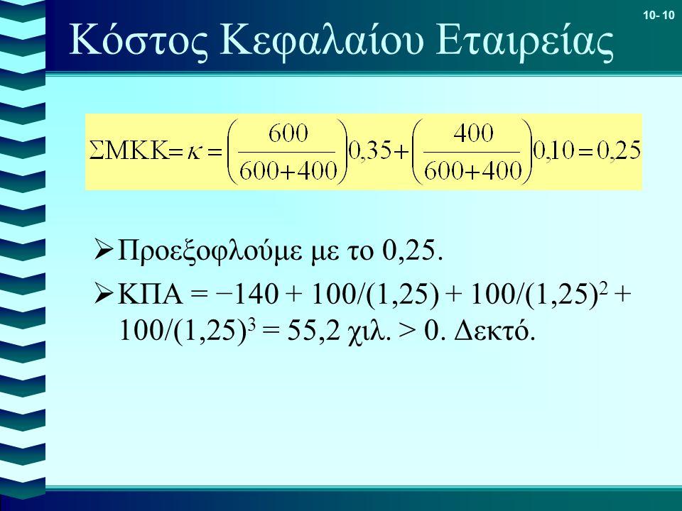 10- 10 Κόστος Κεφαλαίου Εταιρείας  Προεξοφλούμε με το 0,25.  ΚΠΑ = −140 + 100/(1,25) + 100/(1,25) 2 + 100/(1,25) 3 = 55,2 χιλ. > 0. Δεκτό.