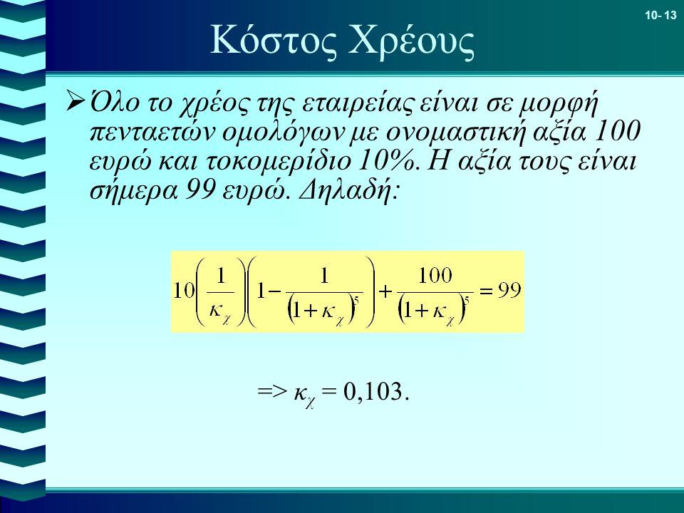 10- 13 Κόστος Χρέους  Όλο το χρέος της εταιρείας είναι σε μορφή πενταετών ομολόγων με ονομαστική αξία 100 ευρώ και τοκομερίδιο 10%.