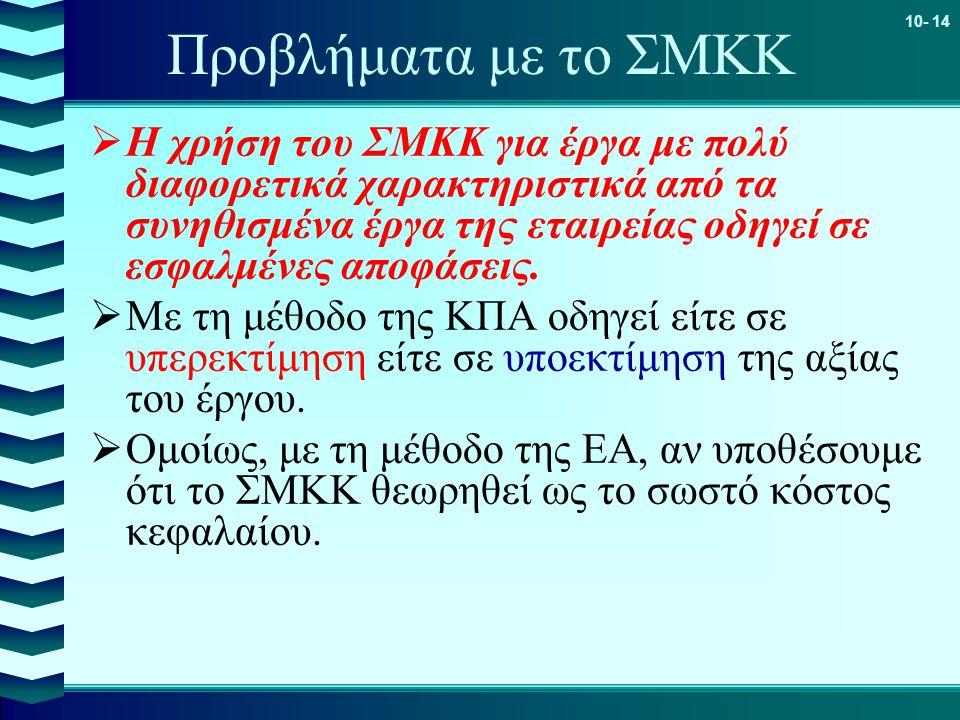 10- 14 Προβλήματα με το ΣΜΚΚ  Η χρήση του ΣΜΚΚ για έργα με πολύ διαφορετικά χαρακτηριστικά από τα συνηθισμένα έργα της εταιρείας οδηγεί σε εσφαλμένες αποφάσεις.