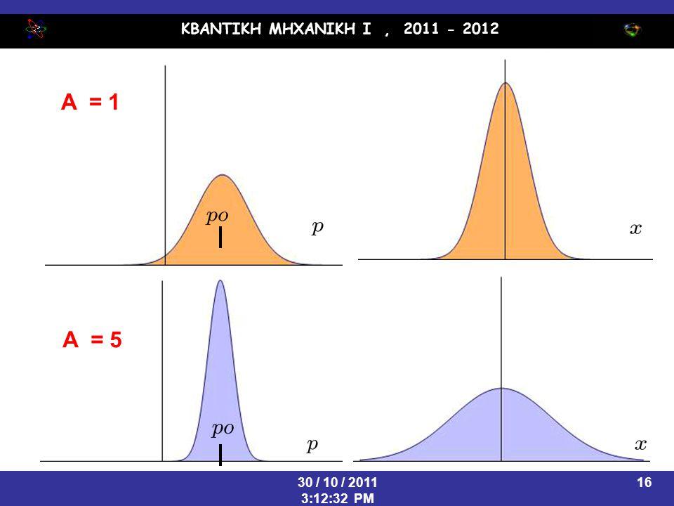 ΚΒΑΝΤΙΚΗ ΜΗΧΑΝΙΚΗ Ι, 2011 - 2012 30 / 10 / 2011 3:12:32 PM 16 A = 1 A = 5