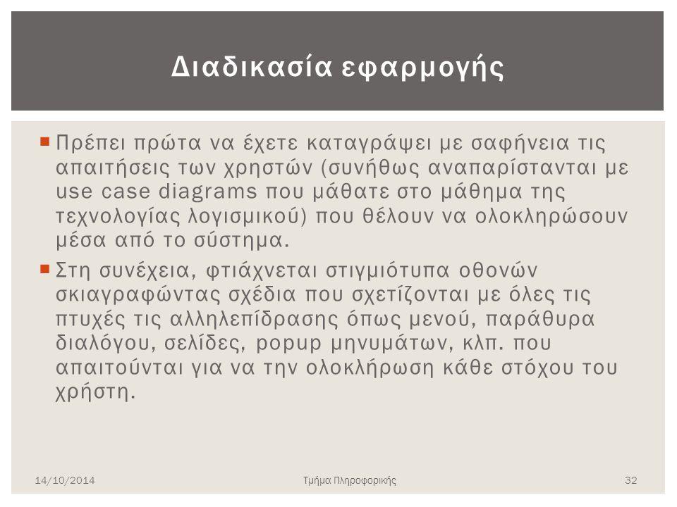 Πρωτοτυποποίηση σε χαρτί 14/10/2014 31 Τμήμα Πληροφορικής