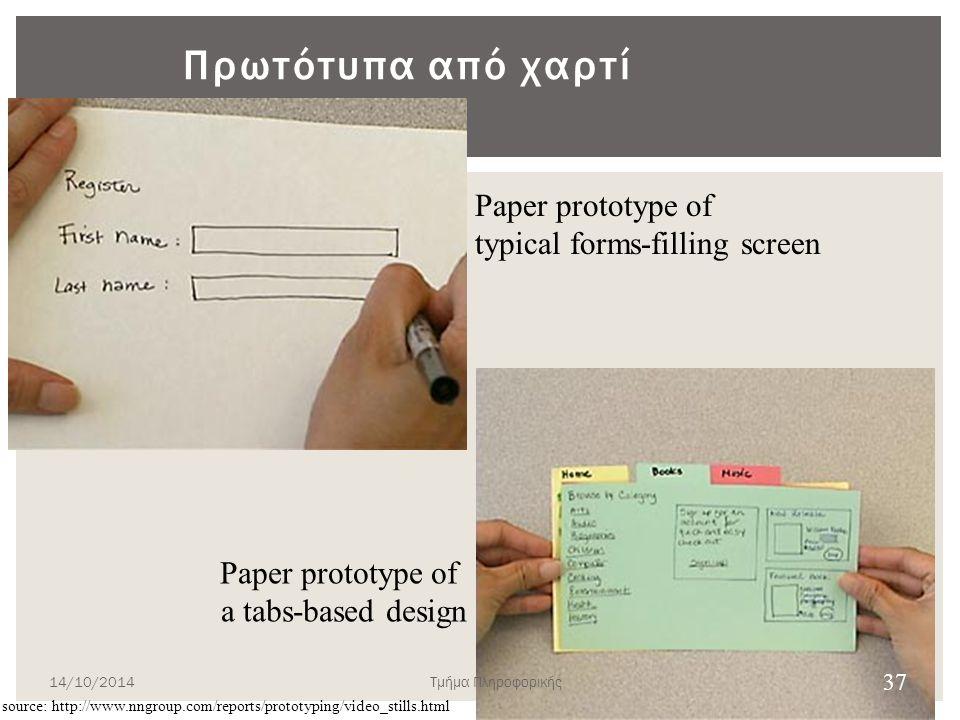 Πότε δεν ενδύκνυται  Η πρωτοτυποποίηση σε χαρτί δεν ενδείκνυται για τις παρακάτω διερευνητικού τύπου περιστάσεις:  αρτιότητα υλοποίησης,  χρόνο από