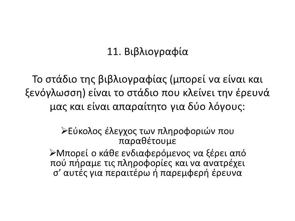 11. Βιβλιογραφία Το στάδιο της βιβλιογραφίας (μπορεί να είναι και ξενόγλωσση) είναι το στάδιο που κλείνει την έρευνά μας και είναι απαραίτητο για δύο