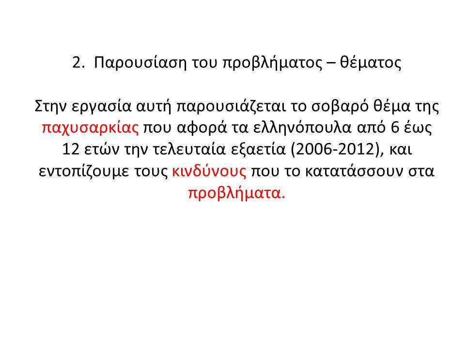 2. Παρουσίαση του προβλήματος – θέματος Στην εργασία αυτή παρουσιάζεται το σοβαρό θέμα της παχυσαρκίας που αφορά τα ελληνόπουλα από 6 έως 12 ετών την