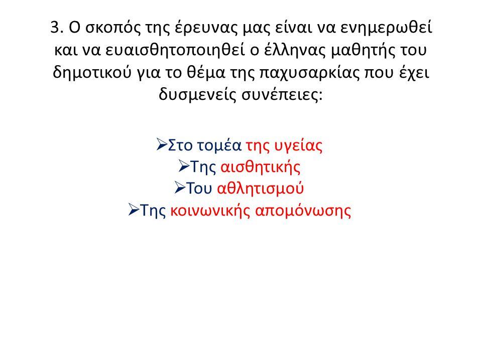 3. Ο σκοπός της έρευνας μας είναι να ενημερωθεί και να ευαισθητοποιηθεί ο έλληνας μαθητής του δημοτικού για το θέμα της παχυσαρκίας που έχει δυσμενείς
