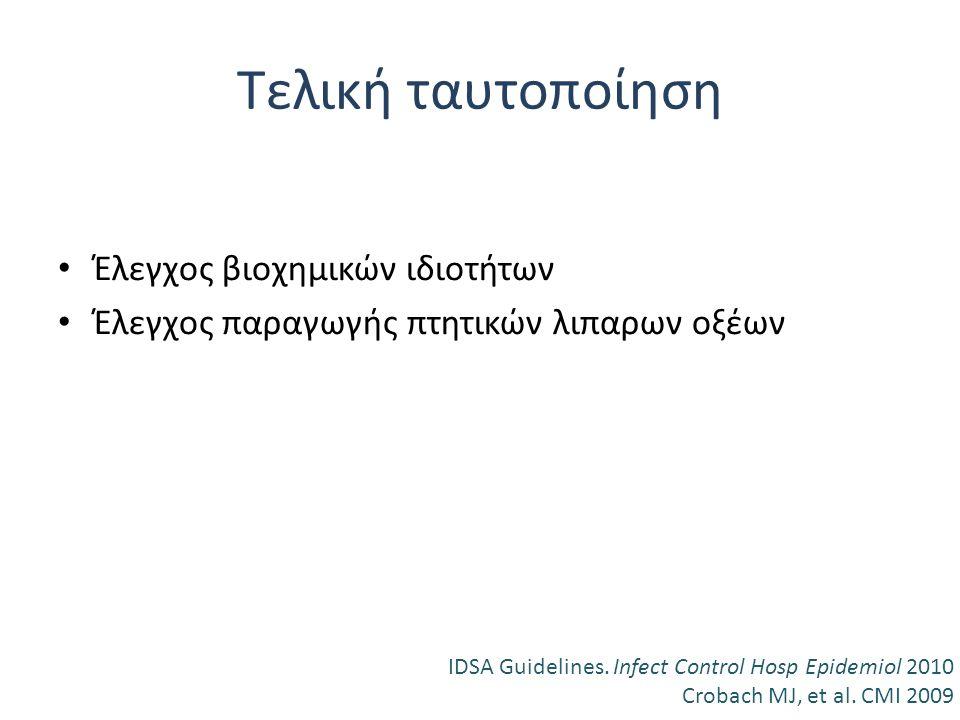 Τελική ταυτοποίηση Έλεγχος βιοχημικών ιδιοτήτων Έλεγχος παραγωγής πτητικών λιπαρων οξέων IDSA Guidelines. Infect Control Hosp Epidemiol 2010 Crobach M