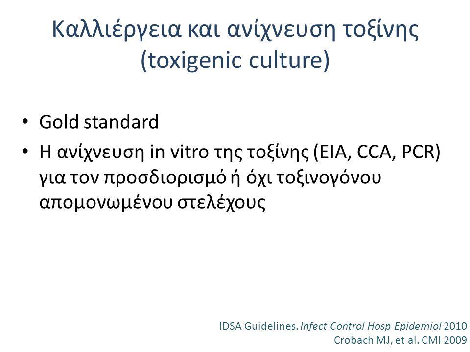 Καλλιέργεια και ανίχνευση τοξίνης (toxigenic culture) Gold standard Η ανίχνευση in vitro της τοξίνης (ΕΙΑ, CCA, PCR) για τον προσδιορισμό ή όχι τοξινο
