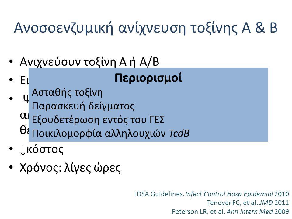 Ανοσοενζυμική ανίχνευση τοξίνης Α & Β Ανιχνεύουν τοξίνη Α ή Α/Β Ευαισθησία 63-94%, ειδικότητα 75-100% Ψευδώς αρνητικά αποτελέσματα, γιατί απαιτούνται