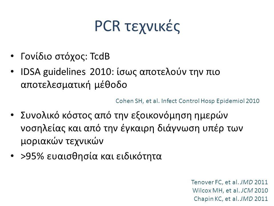 Γονίδιο στόχος: TcdB IDSA guidelines 2010: ίσως αποτελούν την πιο αποτελεσματική μέθοδο Cohen SH, et al. Infect Control Hosp Epidemiol 2010 Συνολικό κ