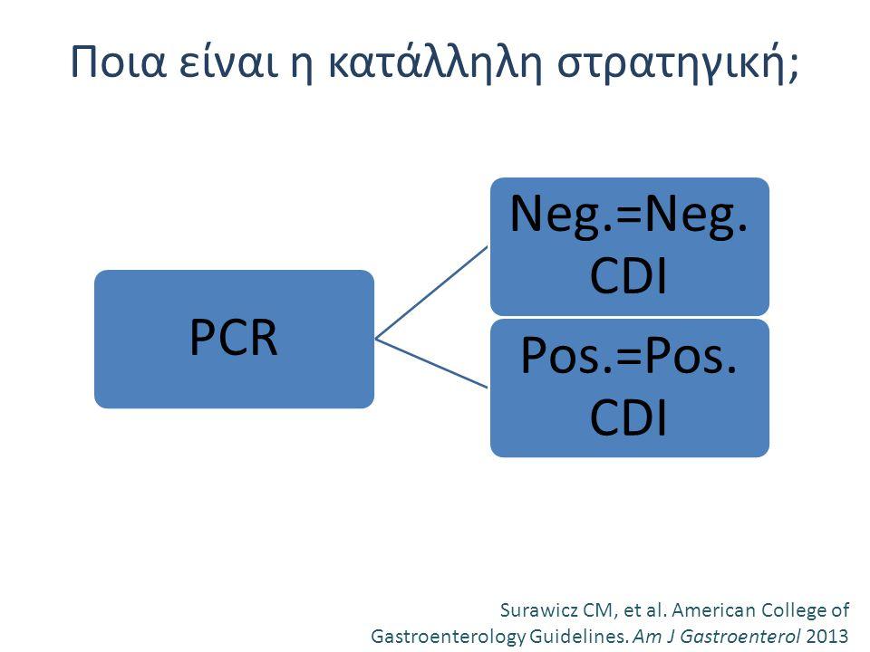 Ποια είναι η κατάλληλη στρατηγική; Surawicz CM, et al. American College of Gastroenterology Guidelines. Am J Gastroenterol 2013 PCR Neg.=Neg. CDI Pos.