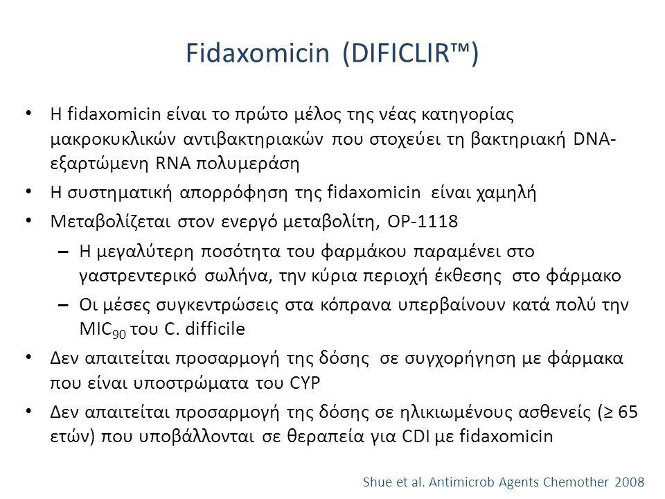 Fidaxomicin (DIFICLIR™) Η fidaxomicin είναι το πρώτο μέλος της νέας κατηγορίας μακροκυκλικών αντιβακτηριακών που στοχεύει τη βακτηριακή DNA- εξαρτώμεν