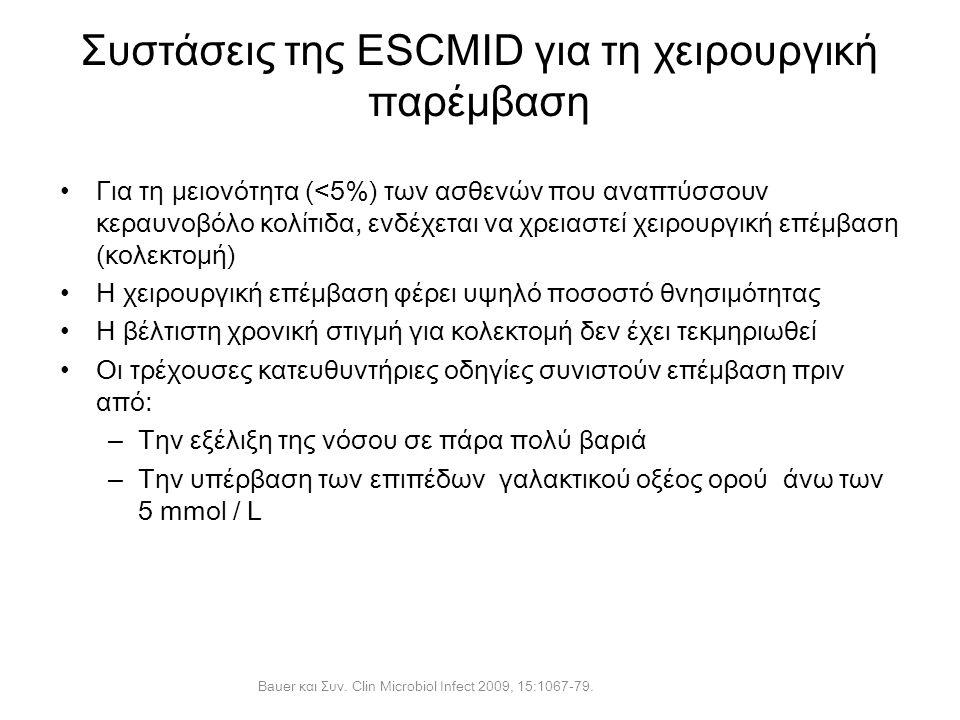 Συστάσεις της ESCMID για τη χειρουργική παρέμβαση Για τη μειονότητα (<5%) των ασθενών που αναπτύσσουν κεραυνοβόλο κολίτιδα, ενδέχεται να χρειαστεί χει