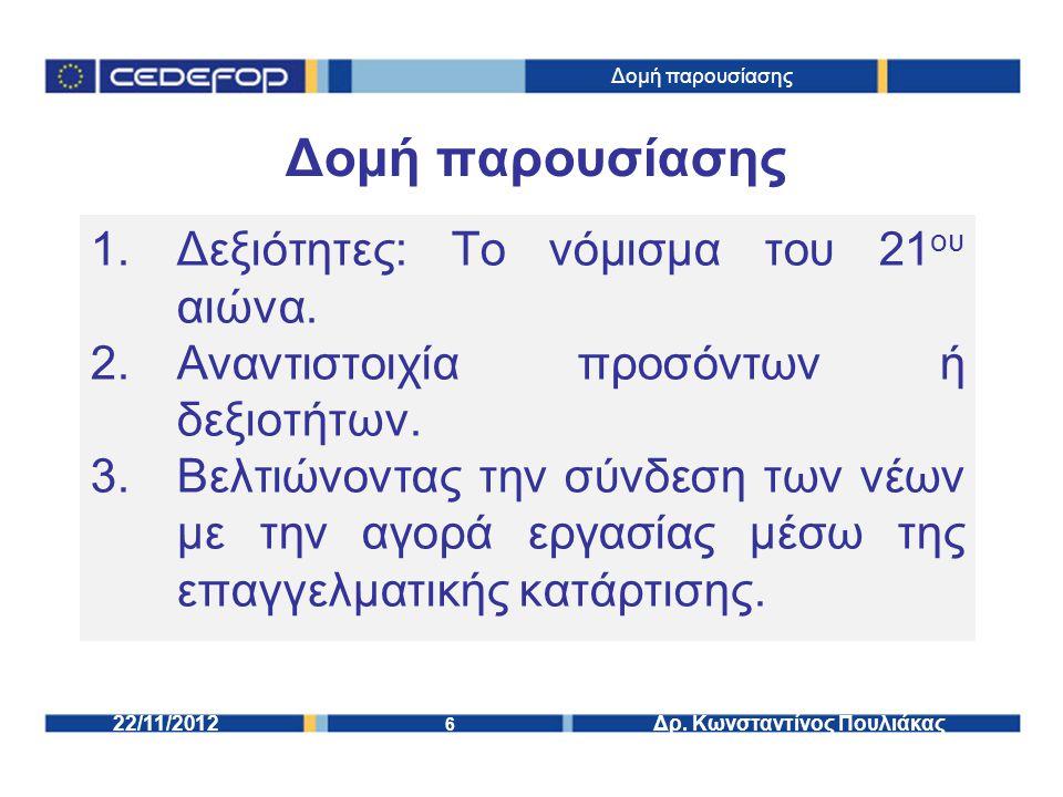 6 Δρ. Κωνσταντίνος Πουλιάκας22/11/2012 Δομή παρουσίασης 1.Δεξιότητες: Το νόμισμα του 21 ου αιώνα.