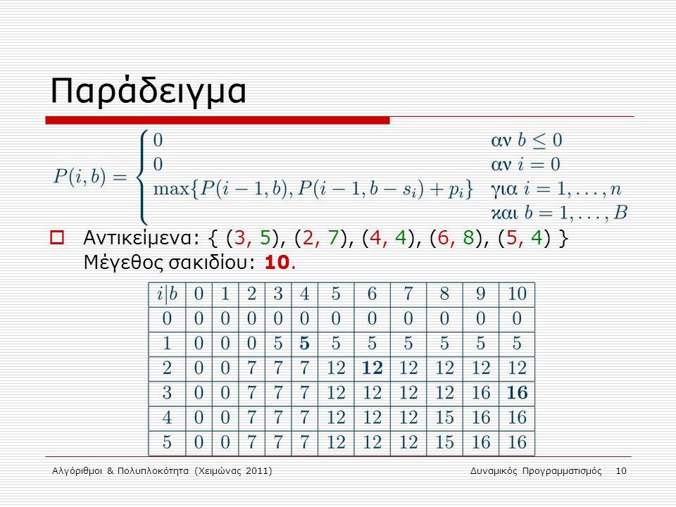Αλγόριθμοι & Πολυπλοκότητα (Χειμώνας 2011)Δυναμικός Προγραμματισμός 10 Παράδειγμα  Αντικείμενα: { (3, 5), (2, 7), (4, 4), (6, 8), (5, 4) } Μέγεθος σα
