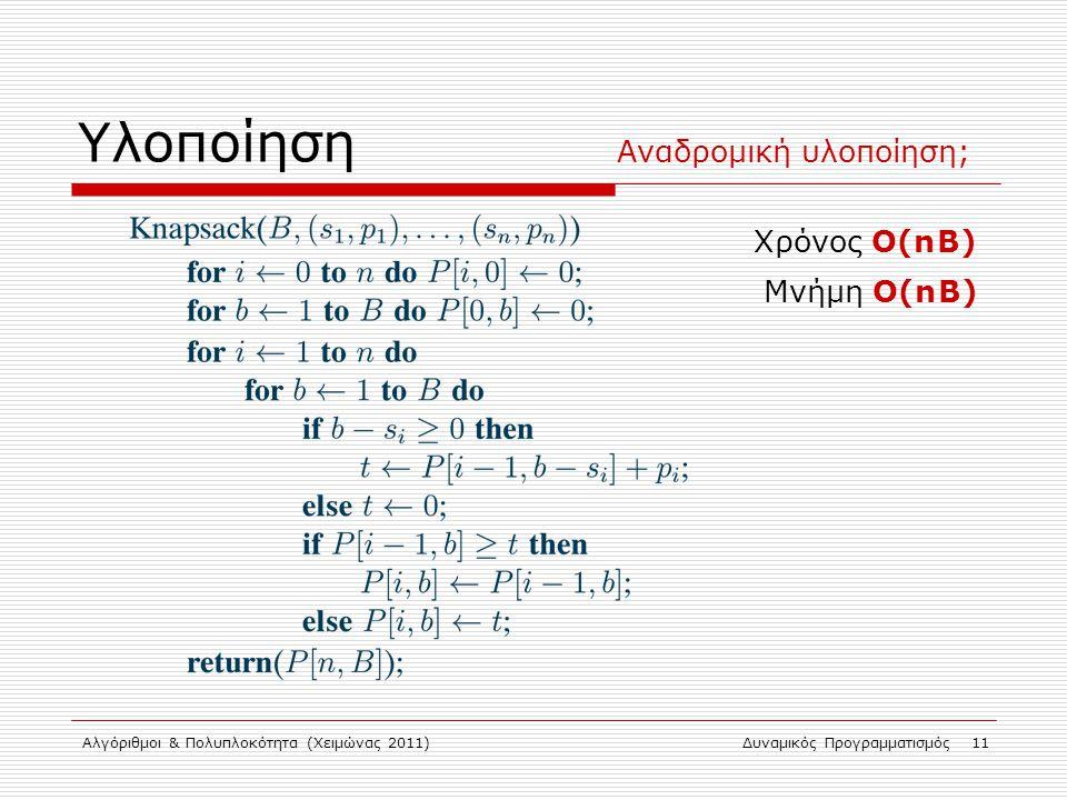 Αλγόριθμοι & Πολυπλοκότητα (Χειμώνας 2011)Δυναμικός Προγραμματισμός 11 Υλοποίηση Χρόνος Ο(n B) Μνήμη Ο(n B) Αναδρομική υλοποίηση;