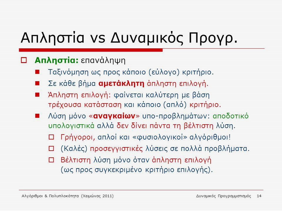 Αλγόριθμοι & Πολυπλοκότητα (Χειμώνας 2011)Δυναμικός Προγραμματισμός 14 Απληστία vs Δυναμικός Προγρ.  Απληστία: επανάληψη Ταξινόμηση ως προς κάποιο (ε