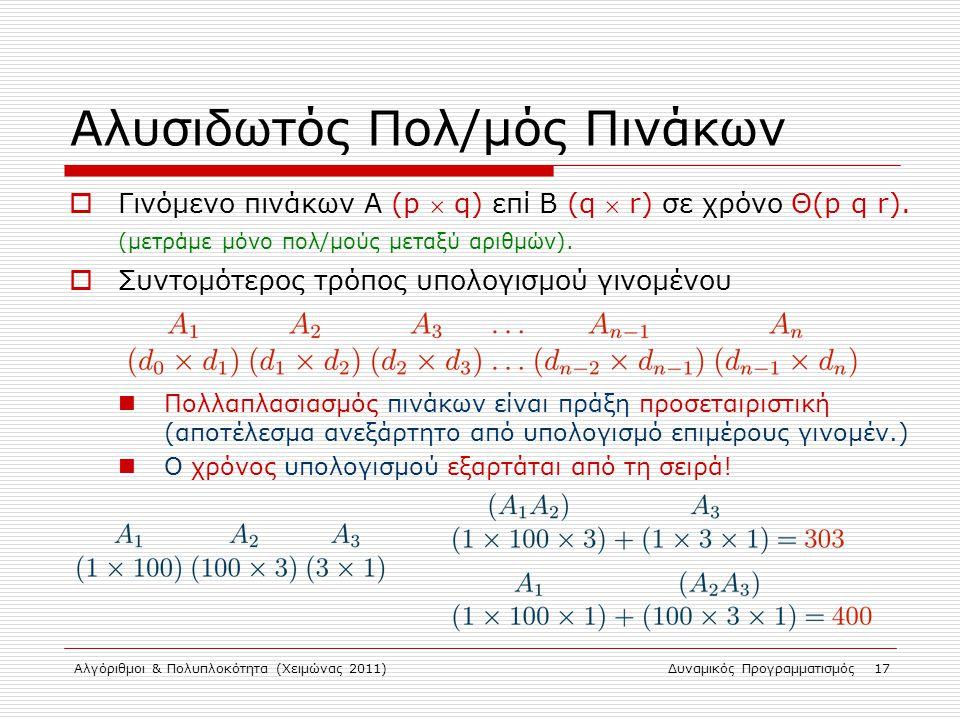 Αλγόριθμοι & Πολυπλοκότητα (Χειμώνας 2011)Δυναμικός Προγραμματισμός 17 Αλυσιδωτός Πολ/μός Πινάκων  Γινόμενο πινάκων Α (p  q) επί B (q  r) σε χρόνο
