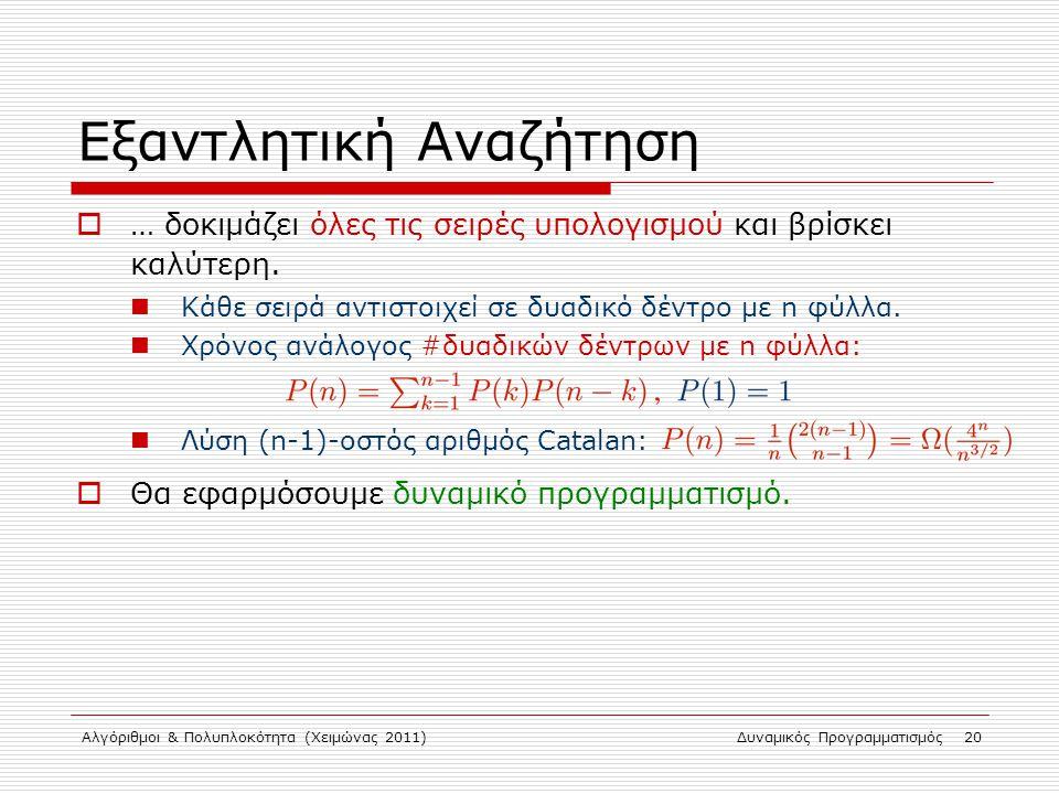 Αλγόριθμοι & Πολυπλοκότητα (Χειμώνας 2011)Δυναμικός Προγραμματισμός 20 Εξαντλητική Αναζήτηση  … δοκιμάζει όλες τις σειρές υπολογισμού και βρίσκει καλ