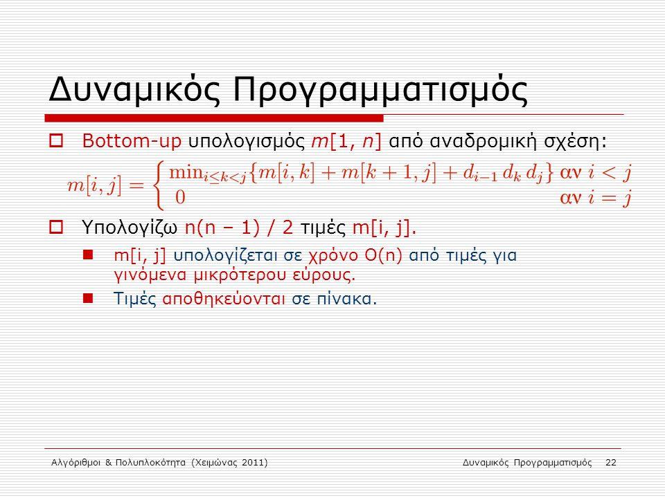 Αλγόριθμοι & Πολυπλοκότητα (Χειμώνας 2011)Δυναμικός Προγραμματισμός 22 Δυναμικός Προγραμματισμός  Bottom-up υπολογισμός m[1, n] από αναδρομική σχέση: