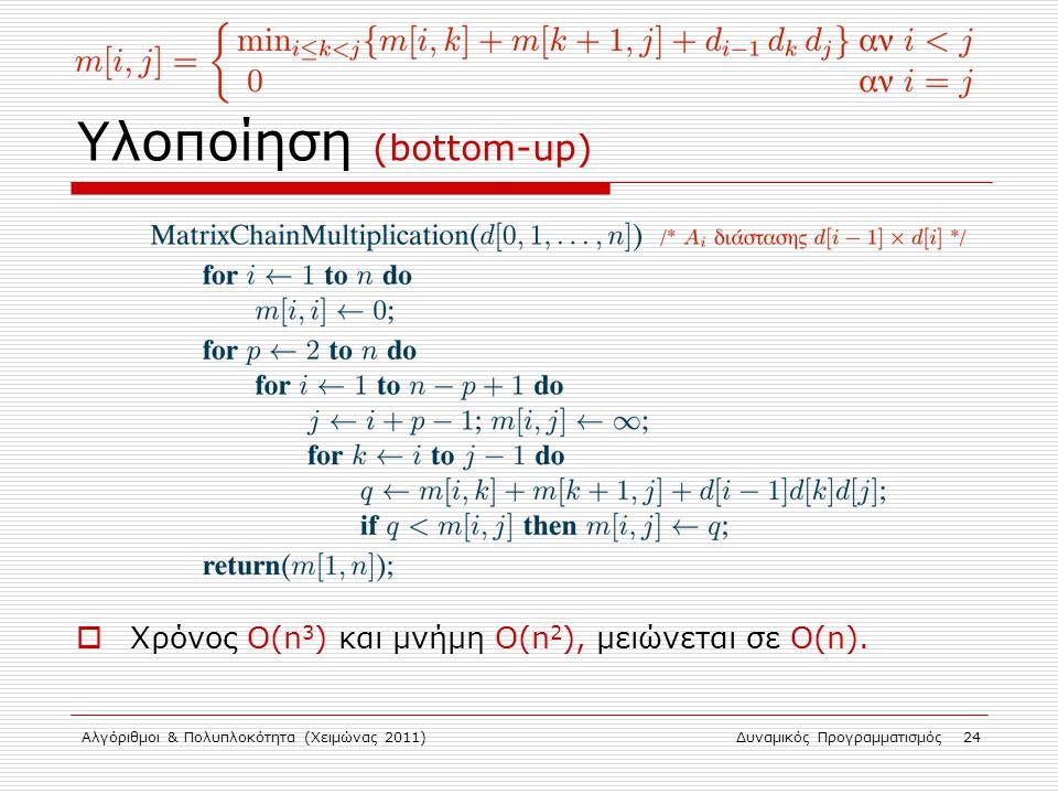 Αλγόριθμοι & Πολυπλοκότητα (Χειμώνας 2011)Δυναμικός Προγραμματισμός 24 Υλοποίηση (bottom-up)  Χρόνος Ο(n 3 ) και μνήμη O(n 2 ), μειώνεται σε Ο(n).