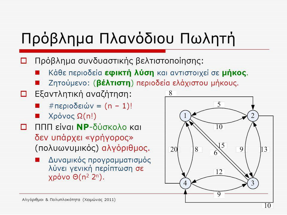 Αλγόριθμοι & Πολυπλοκότητα (Χειμώνας 2011) Πρόβλημα Πλανόδιου Πωλητή  Πρόβλημα συνδυαστικής βελτιστοποίησης: Κάθε περιοδεία εφικτή λύση και αντιστοιχ