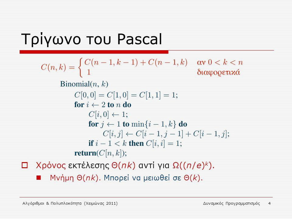 Αλγόριθμοι & Πολυπλοκότητα (Χειμώνας 2011)Δυναμικός Προγραμματισμός 4 Τρίγωνο του Pascal  Χρόνος εκτέλεσης Θ(n k) αντί για Ω((n / e) k ). Μνήμη Θ(n k
