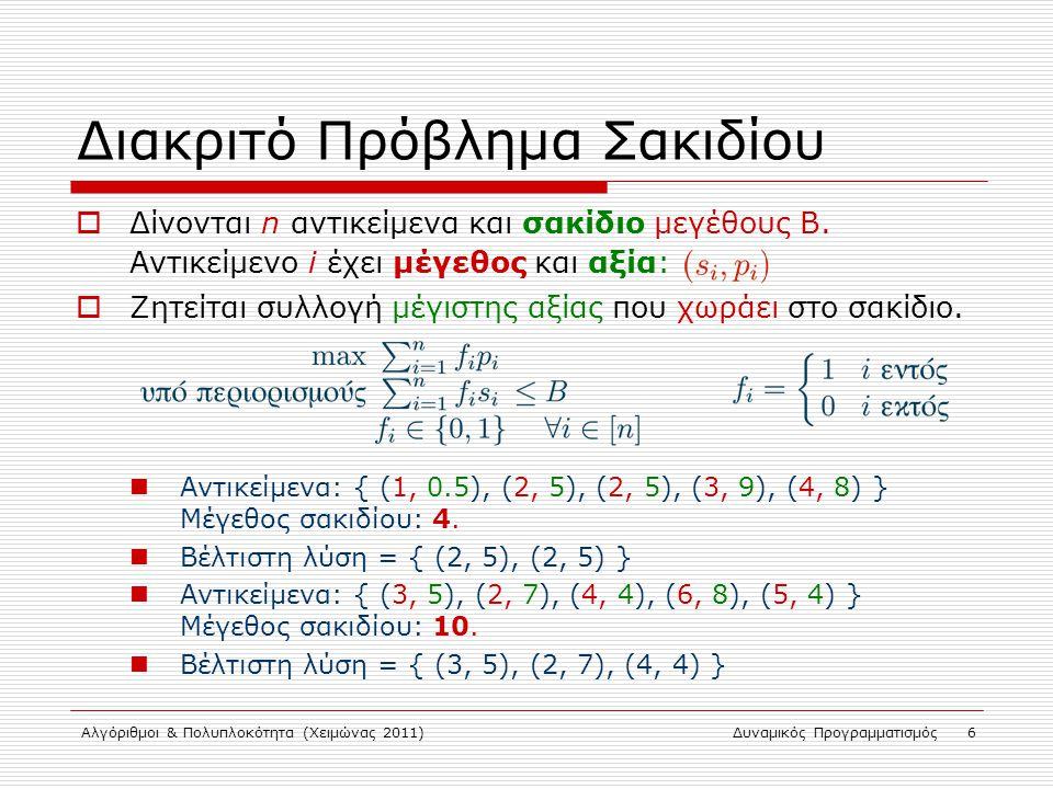Αλγόριθμοι & Πολυπλοκότητα (Χειμώνας 2011)Δυναμικός Προγραμματισμός 6 Διακριτό Πρόβλημα Σακιδίου  Δίνονται n αντικείμενα και σακίδιο μεγέθους Β. Αντι