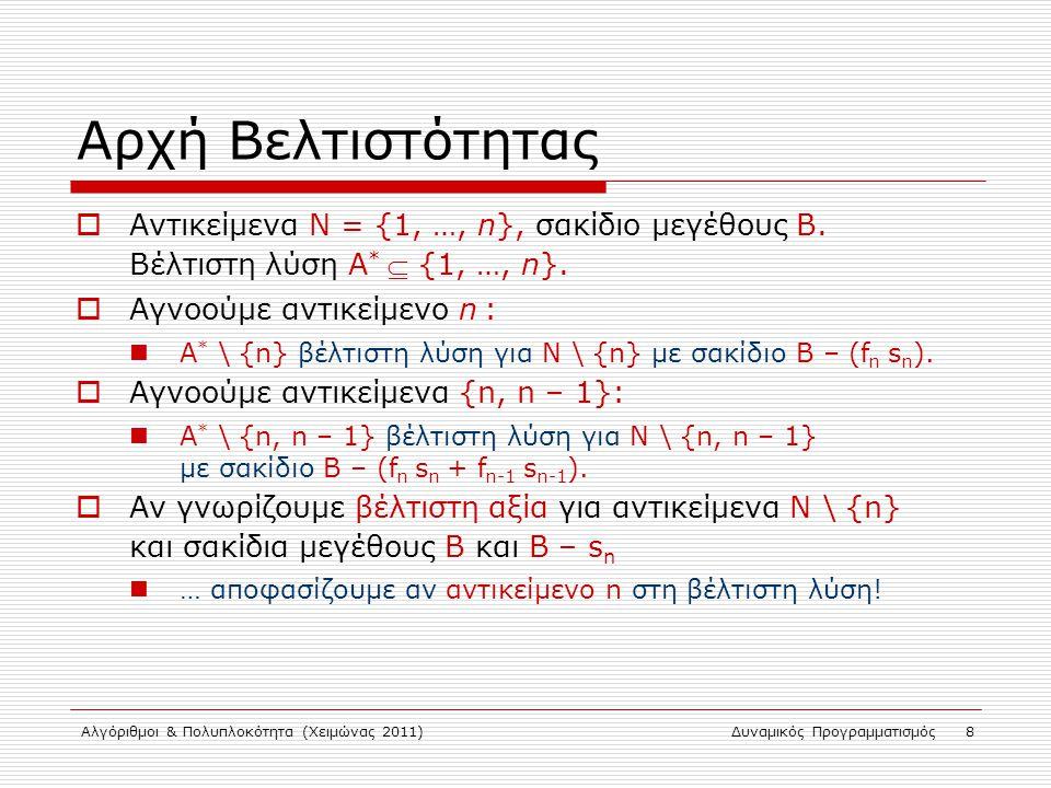 Αλγόριθμοι & Πολυπλοκότητα (Χειμώνας 2011)Δυναμικός Προγραμματισμός 8 Αρχή Βελτιστότητας  Αντικείμενα N = {1, …, n}, σακίδιο μεγέθους Β. Βέλτιστη λύσ