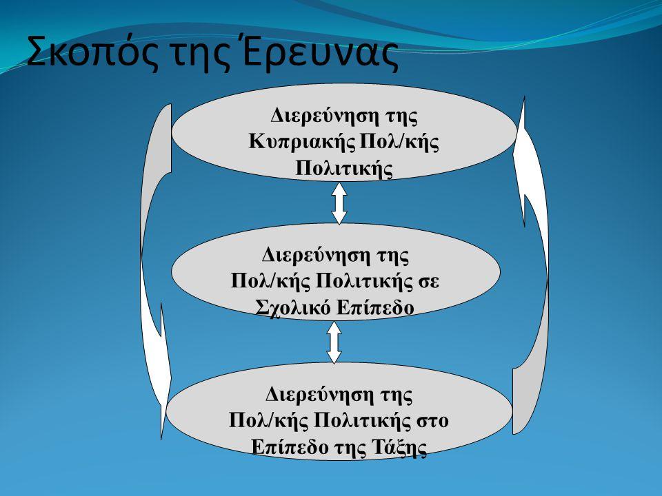 Σκοπός της Έρευνας Διερεύνηση της Κυπριακής Πολ/κής Πολιτικής Διερεύνηση της Πολ/κής Πολιτικής σε Σχολικό Επίπεδο Διερεύνηση της Πολ/κής Πολιτικής στο Επίπεδο της Τάξης