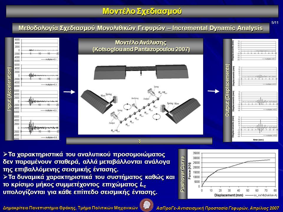 5/11 Μεθοδολογία Σχεδιασμού Μονολιθικών Γεφυρών – Incremental Dynamic Analysis Μοντέλο Σχεδιασμού Δημοκρίτειο Πανεπιστήμιο Θράκης, Τμήμα Πολιτικών Μηχανικών ΑσΠροΓε-Αντισεισμική Προστασία Γεφυρών, Απρίλιος 2007 Μοντέλο Ανάλυσης (Kotsoglou and Pantazopoulou 2007) (Kotsoglou and Pantazopoulou 2007) Input (Acceleration) Output (Displacements) >> Pushover Curve  Τα χαρακτηριστικά του αναλυτικού προσομοιώματος δεν παραμένουν σταθερά, αλλά μεταβάλλονται ανάλογα της επιβαλλόμενης σεισμικής έντασης.