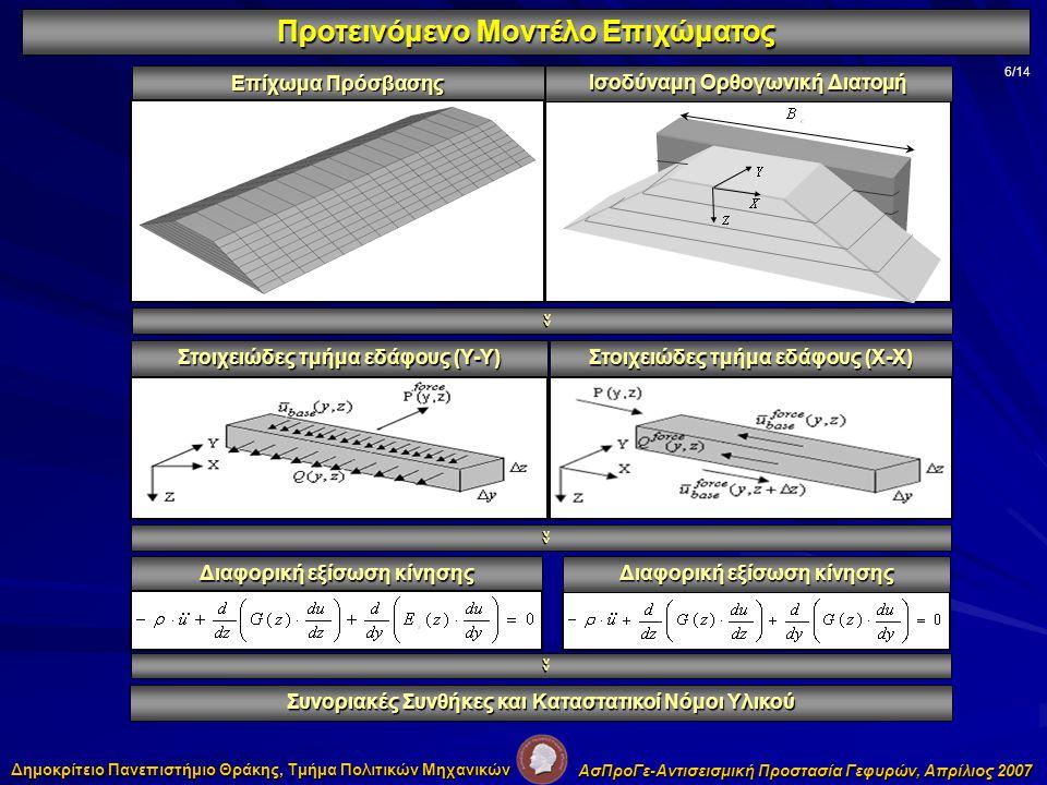 Προτεινόμενο Μοντέλο Επιχώματος 6/14 Επίχωμα Πρόσβασης Ισοδύναμη Ορθογωνική Διατομή Στοιχειώδες τμήμα εδάφους (Υ-Υ) Στοιχειώδες τμήμα εδάφους (Χ-Χ) Διαφορική εξίσωση κίνησης Συνοριακές Συνθήκες και Καταστατικοί Νόμοι Υλικού >> >> >> Δημοκρίτειο Πανεπιστήμιο Θράκης, Τμήμα Πολιτικών Μηχανικών ΑσΠροΓε-Αντισεισμική Προστασία Γεφυρών, Απρίλιος 2007
