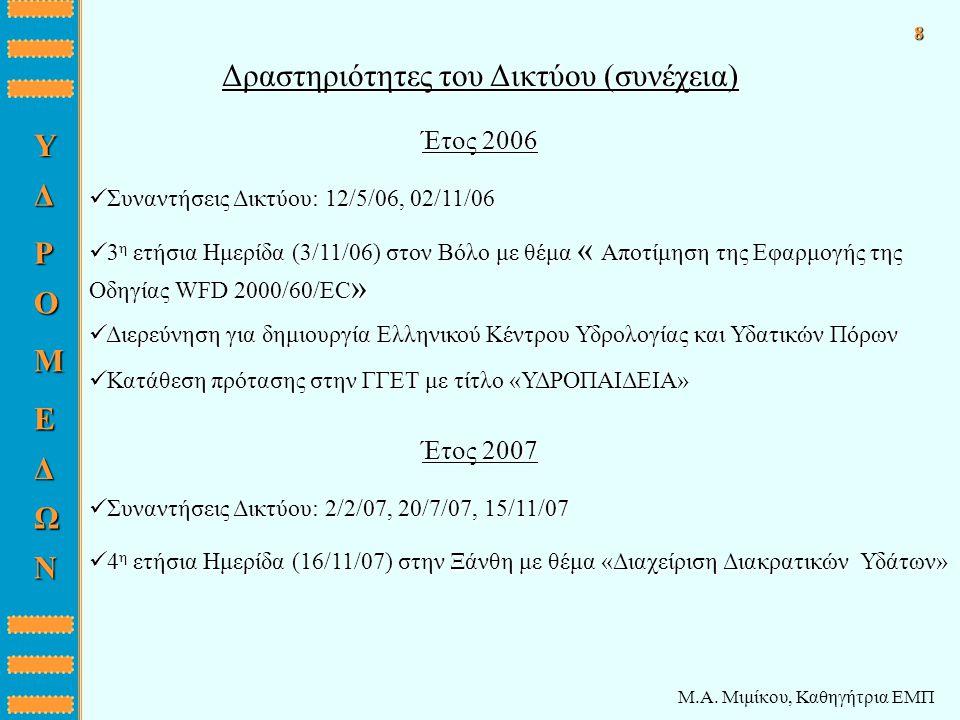 Μ.Α. Μιμίκου, Καθηγήτρια ΕΜΠ Δραστηριότητες του Δικτύου (συνέχεια) ΔYΡ O M E Δ Ω N 8 Έτος 2006 Έτος 2007 3 η ετήσια Ημερίδα (3/11/06) στον Βόλο με θέμ