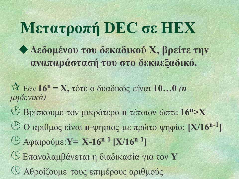 Μετατροπή DEC σε HEX  Δεδομένου του δεκαδικού X, βρείτε την αναπαράστασή του στο δεκαεξαδικό.