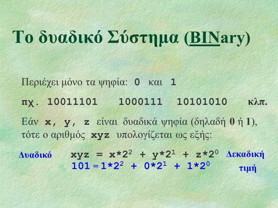 Το δυαδικό Σύστημα (BINary) Περιέχει μόνο τα ψηφία: 0 και 1 πχ.