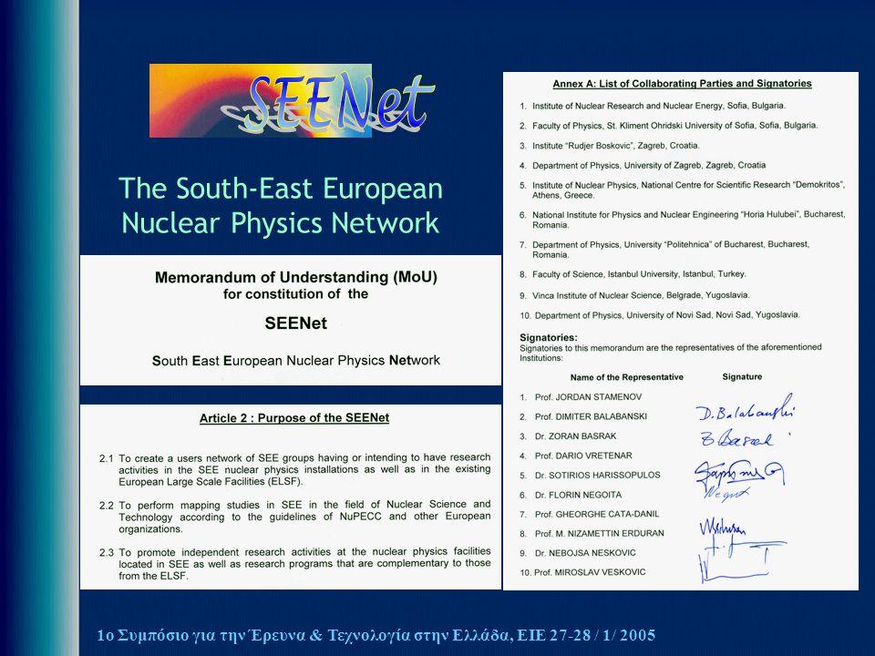 1ο Συμπόσιο για την Έρευνα & Τεχνολογία στην Ελλάδα, ΕΙΕ 27-28 / 1/ 2005 The South-East European Nuclear Physics Network