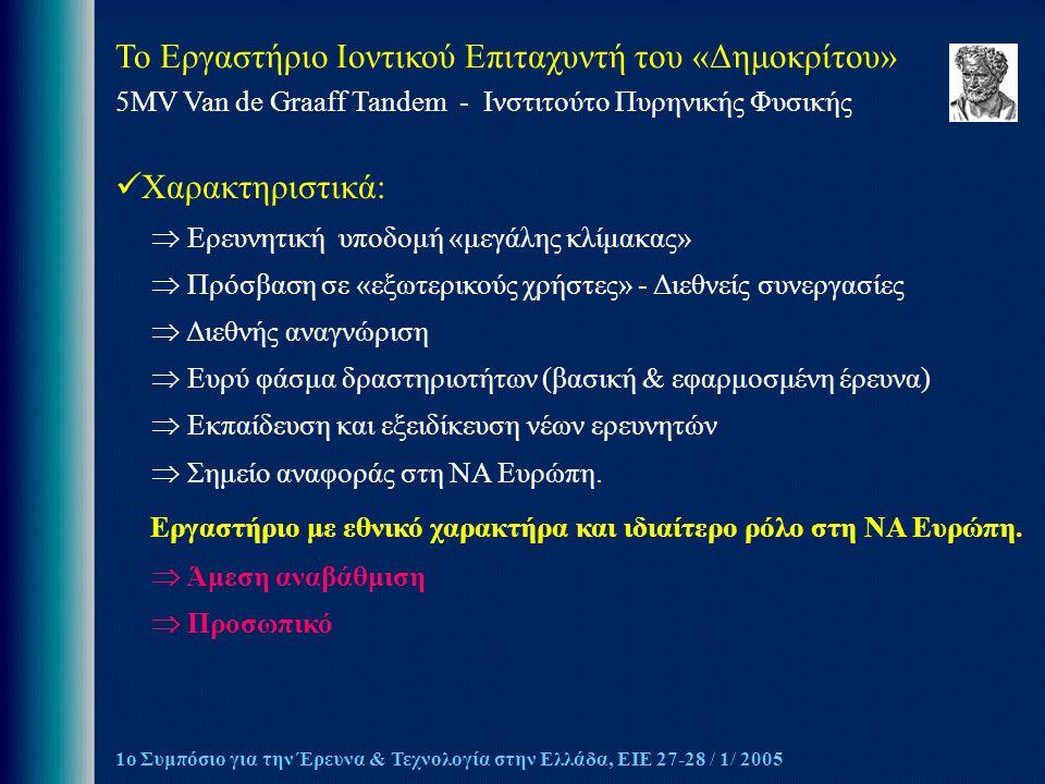 Το Εργαστήριο Ιοντικού Επιταχυντή του «Δημοκρίτου» 5MV Van de Graaff Tandem - Ινστιτούτο Πυρηνικής Φυσικής 1ο Συμπόσιο για την Έρευνα & Τεχνολογία στην Ελλάδα, ΕΙΕ 27-28 / 1/ 2005 Χαρακτηριστικά:  Ερευνητική υποδομή «μεγάλης κλίμακας»  Πρόσβαση σε «εξωτερικούς χρήστες» - Διεθνείς συνεργασίες  Διεθνής αναγνώριση  Ευρύ φάσμα δραστηριοτήτων (βασική & εφαρμοσμένη έρευνα)  Εκπαίδευση και εξειδίκευση νέων ερευνητών  Σημείο αναφοράς στη ΝΑ Ευρώπη.