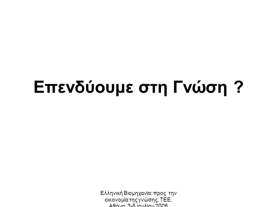 Ελληνική Βιομηχανία: προς την οικονομία της γνώσης, ΤΕΕ, Αθήνα, 3-5 Ιουλίου 2006 Επενδύουμε στη Γνώση ?