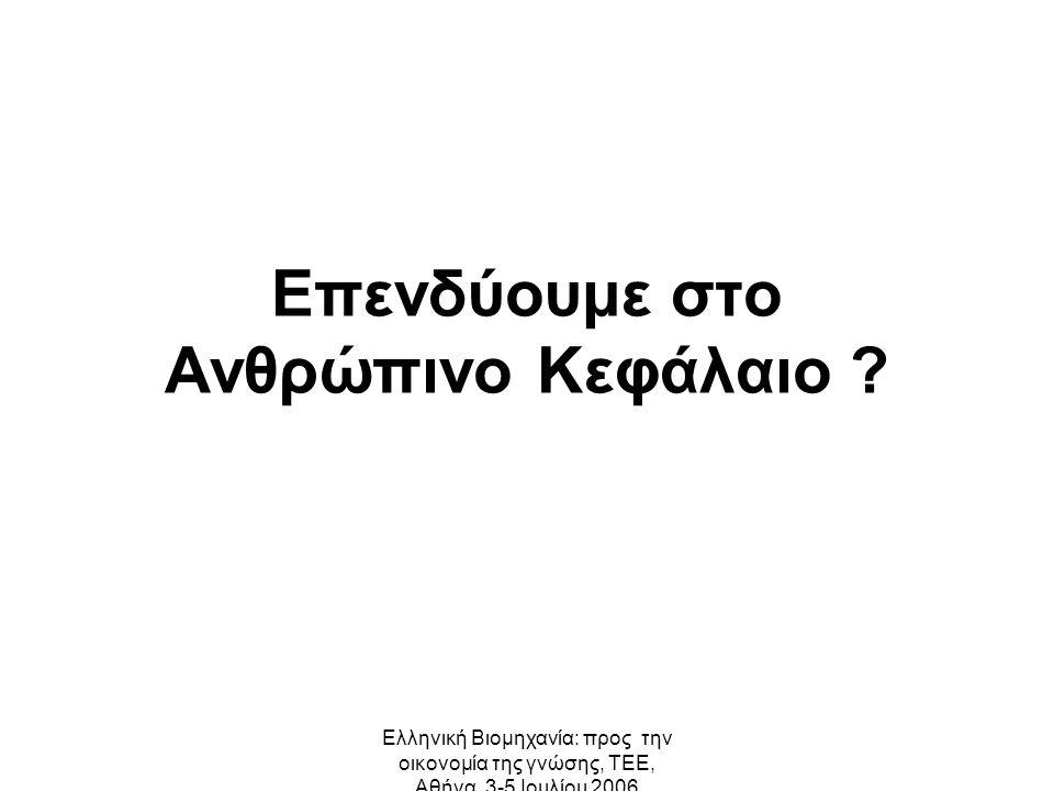 Ελληνική Βιομηχανία: προς την οικονομία της γνώσης, ΤΕΕ, Αθήνα, 3-5 Ιουλίου 2006 Επενδύουμε στο Ανθρώπινο Κεφάλαιο