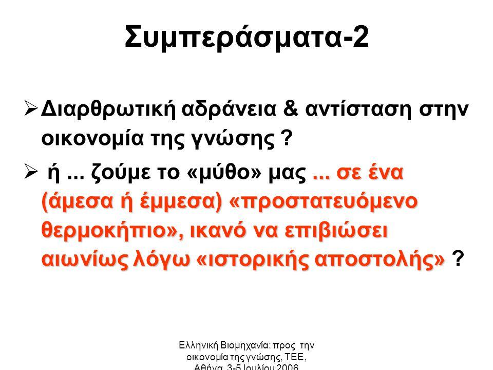 Ελληνική Βιομηχανία: προς την οικονομία της γνώσης, ΤΕΕ, Αθήνα, 3-5 Ιουλίου 2006 Συμπεράσματα-2  Διαρθρωτική αδράνεια & αντίσταση στην οικονομία της γνώσης ...
