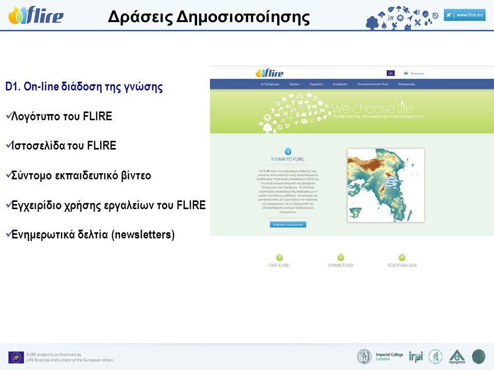 Δράσεις Δημοσιοποίησης D1. On-line διάδοση της γνώσης Λογότυπο του FLIRE Ιστοσελίδα του FLIRE Σύντομο εκπαιδευτικό βίντεο Εγχειρίδιο χρήσης εργαλείων
