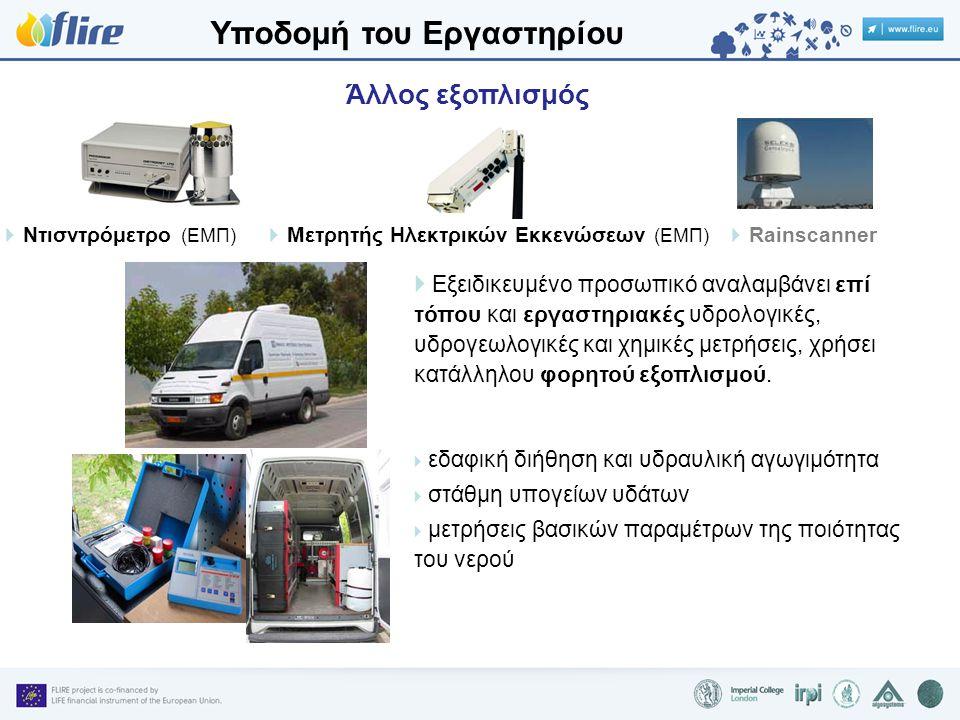  Μετρητής Ηλεκτρικών Εκκενώσεων (ΕΜΠ)  Εξειδικευμένο προσωπικό αναλαμβάνει επί τόπου και εργαστηριακές υδρολογικές, υδρογεωλογικές και χημικές μετρήσεις, χρήσει κατάλληλου φορητού εξοπλισμού.
