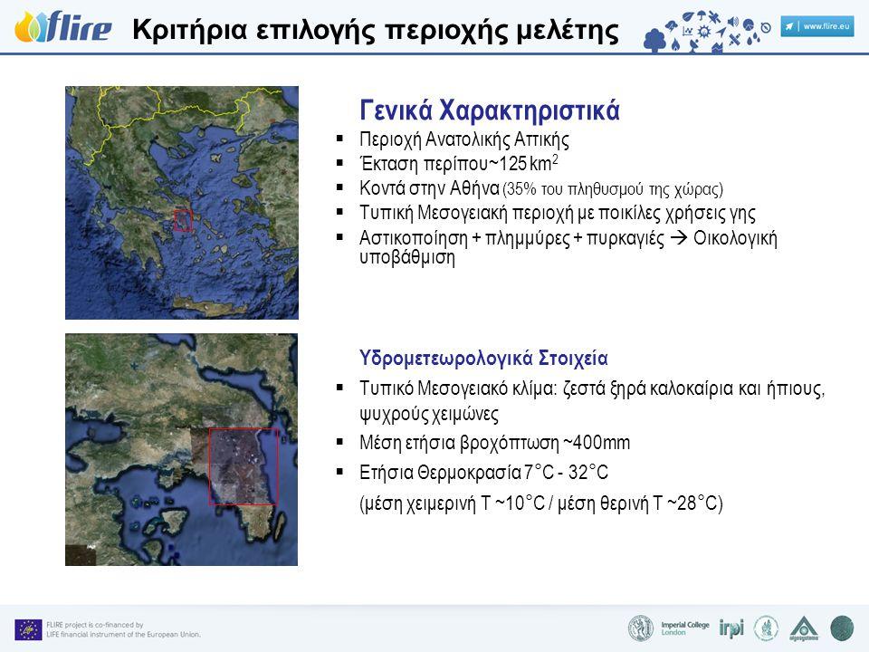 Κριτήρια επιλογής περιοχής μελέτης Γενικά Χαρακτηριστικά  Περιοχή Ανατολικής Αττικής  Έκταση περίπου~125 km 2  Κοντά στην Αθήνα (35% του πληθυσμού της χώρας)  Τυπική Μεσογειακή περιοχή με ποικίλες χρήσεις γης  Αστικοποίηση + πλημμύρες + πυρκαγιές  Οικολογική υποβάθμιση Υδρομετεωρολογικά Στοιχεία  Τυπικό Μεσογειακό κλίμα: ζεστά ξηρά καλοκαίρια και ήπιους, ψυχρούς χειμώνες  Μέση ετήσια βροχόπτωση ~400mm  Ετήσια Θερμοκρασία 7°C - 32°C (μέση χειμερινή T ~10°C / μέση θερινή T ~28°C)