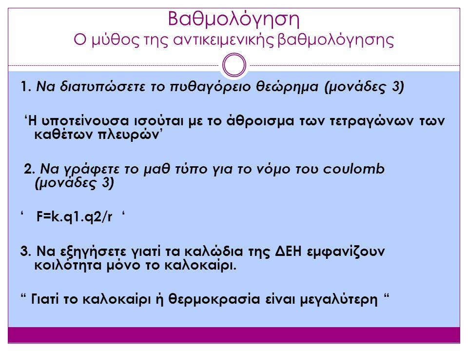 Βαθμολόγηση Ο μύθος της αντικειμενικής βαθμολόγησης 1.