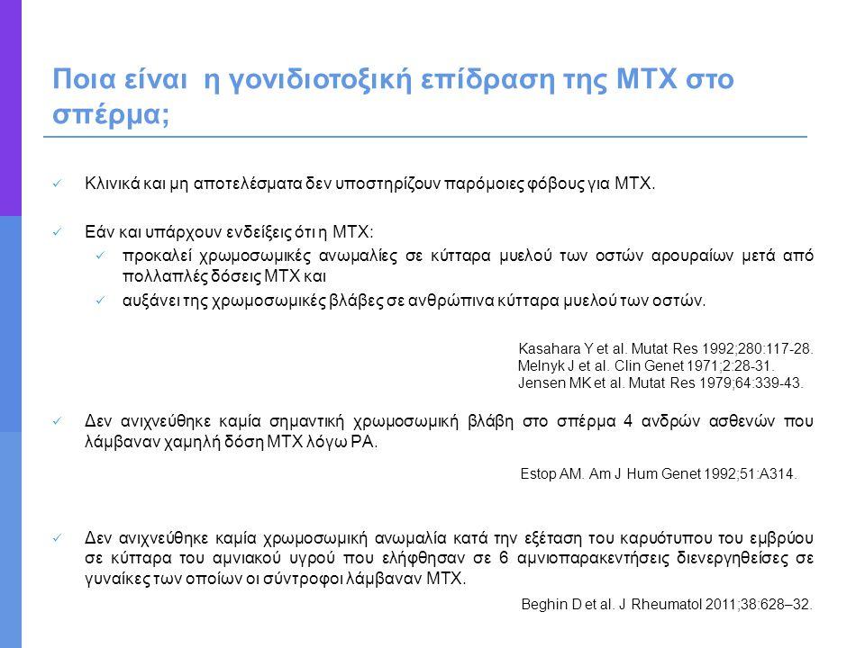 Κλινικά και μη αποτελέσματα δεν υποστηρίζουν παρόμοιες φόβους για MTX. Εάν και υπάρχουν ενδείξεις ότι η MTX: προκαλεί χρωμοσωμικές ανωμαλίες σε κύτταρ