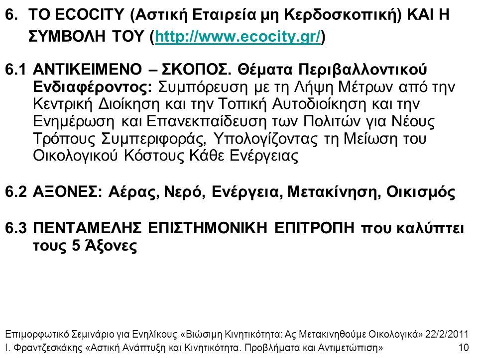 6.ΤΟ ECOCITY (Αστική Εταιρεία μη Κερδοσκοπική) ΚΑΙ Η ΣΥΜΒΟΛΗ ΤΟΥ (http://www.ecocity.gr/)http://www.ecocity.gr/ 6.1ΑΝΤΙΚΕΙΜΕΝΟ – ΣΚΟΠΟΣ. Θέματα Περιβα