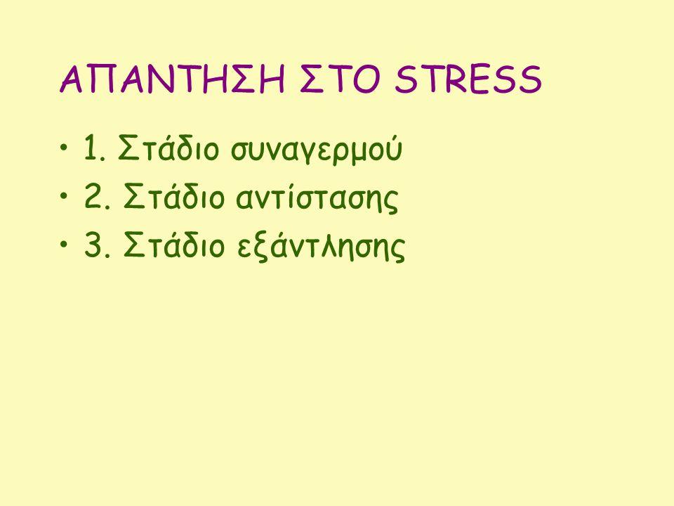 AΠΑΝΤΗΣΗ ΣΤΟ STRESS 1. Στάδιο συναγερμού 2. Στάδιο αντίστασης 3. Στάδιο εξάντλησης