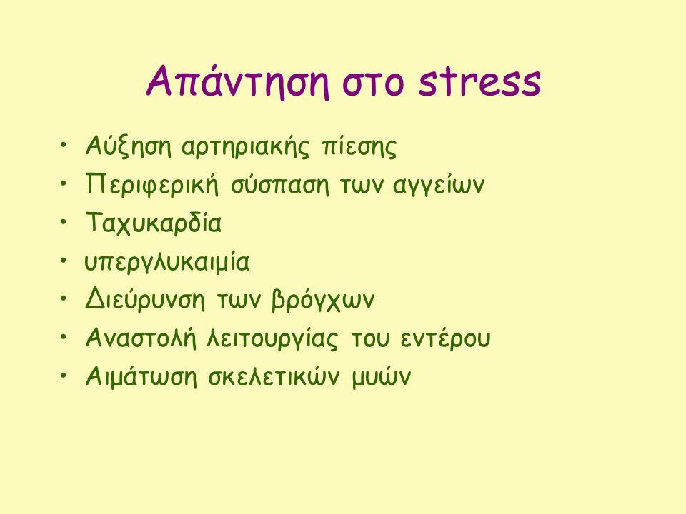 Απάντηση στο stress Αύξηση αρτηριακής πίεσης Περιφερική σύσπαση των αγγείων Ταχυκαρδία υπεργλυκαιμία Διεύρυνση των βρόγχων Αναστολή λειτουργίας του εν