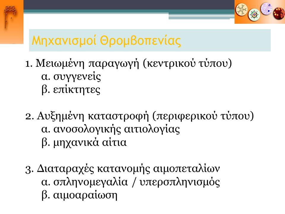 Μηχανισμοί Θρομβοπενίας 1. Μειωμένη παραγωγή (κεντρικού τύπου) α. συγγενείς β. επίκτητες 2. Αυξημένη καταστροφή (περιφερικού τύπου) α. ανοσολογικής αι