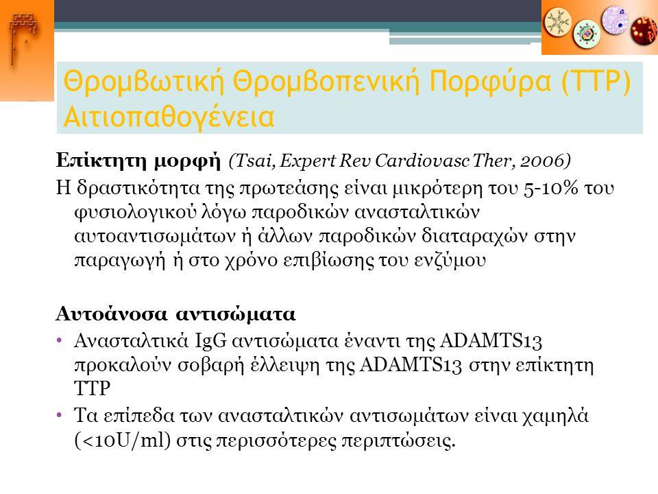 Θρομβωτική Θρομβοπενική Πορφύρα (ΤΤΡ) Αιτιοπαθογένεια Επίκτητη μορφή (Tsai, Expert Rev Cardiovasc Ther, 2006) Η δραστικότητα της πρωτεάσης είναι μικρό