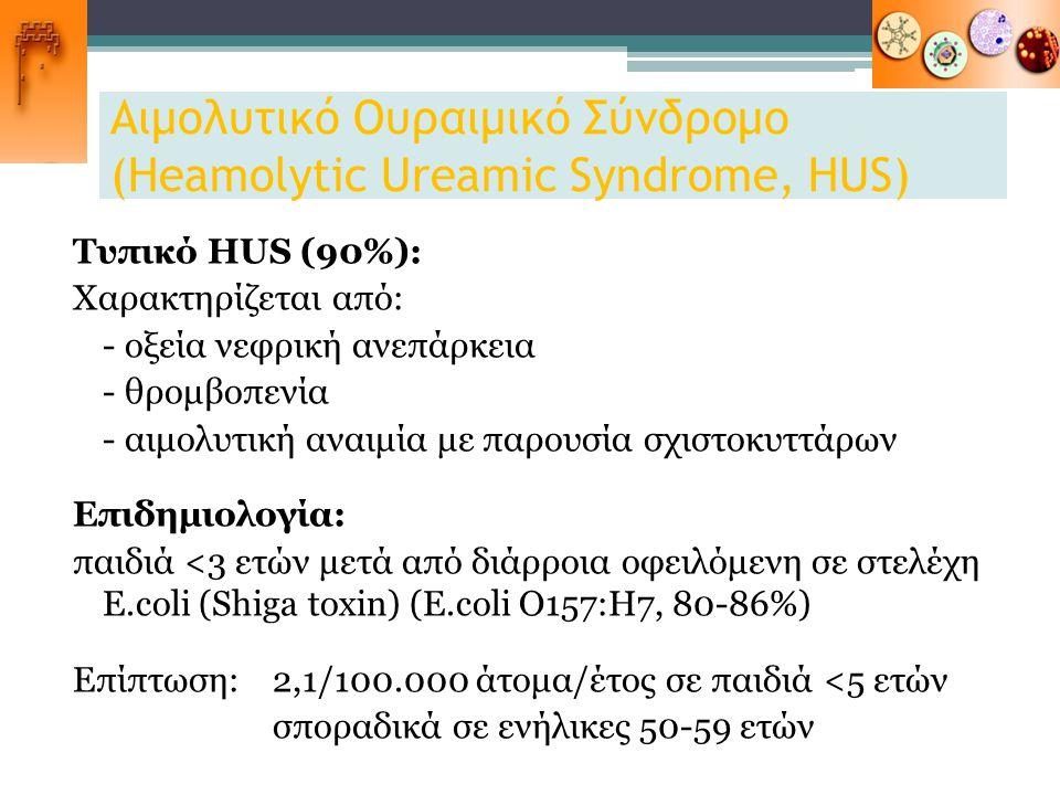 Αιμολυτικό Ουραιμικό Σύνδρομο (Heamolytic Ureamic Syndrome, HUS) Τυπικό HUS (90%): Χαρακτηρίζεται από: - οξεία νεφρική ανεπάρκεια - θρομβοπενία - αιμο